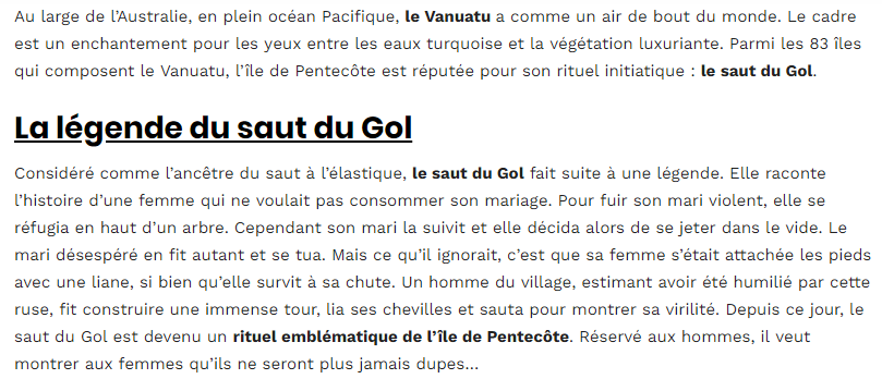 Le saut du Gol au Vanuatu